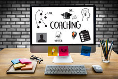 COACHING Training Planning Learning Coaching Business Guide Ins stock image