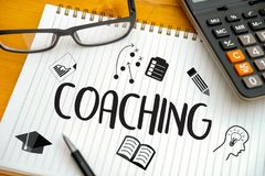 COACHING Training Planning Learning Coaching Business Guide Inst. Ructor Leader Royalty Free Stock Images