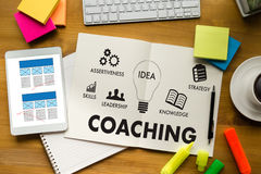 COACHING Training Planning Learning Coaching Business Guide Inst Royalty Free Stock Images
