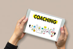 COACHING Training Planning Learning Coaching Business Guide Inst Royalty Free Stock Photo