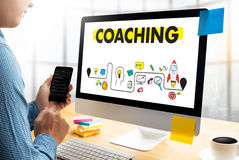 COACHING Training Planning Learning Coaching Business Guide Inst Royalty Free Stock Photos