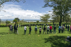 Coaching  training to hotel staff about Lake Nakuru. AFRICA, KENYA, MAY, 05, 2016 - Coaching  training to hotel staff about Lake Nakuru National Park, Kenya Stock Photo