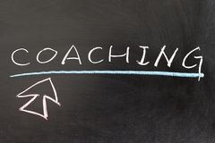 Coaching word. And mouse pointer drawn on chalkboard Royalty Free Stock Photography
