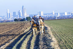 Coachman with horse coach and the skyline of Frankfurt Royalty Free Stock Photography