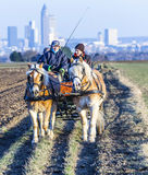 Coachman with horse coach and the skyline of Frankfurt Royalty Free Stock Image