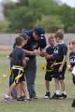 Coachning för flaggafotboll arkivbilder