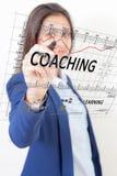 Coachning för kvinnapennhandlag fotografering för bildbyråer
