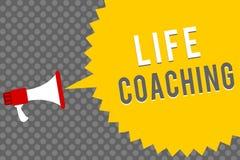 Coachning för liv för handskrifttexthandstil Begreppsbetydelsen förbättrar liv vid utmaningar uppmuntrar oss i vår karriärmegafon royaltyfri illustrationer