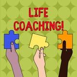 Coachning f?r handskrifttextliv Begreppsbetydelse en demonstrering som anv?nds f?r att hj?lpa uppvisning f?r att n? fram till der vektor illustrationer