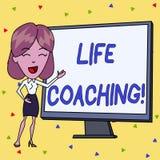 Coachning f?r liv f?r handskrifttexthandstil Begreppsbetydelse en demonstrering som används för att hjälpa uppvisning för att nå  stock illustrationer