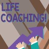 Coachning f?r liv f?r handskrifttexthandstil Begreppsbetydelse en demonstrering som anv?nds f?r att hj?lpa uppvisning f?r att n?  stock illustrationer