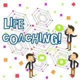 Coachning f?r liv f?r handskrifttexthandstil Begreppsbetydelse en demonstrering som anv?nds f?r att hj?lpa uppvisning f?r att n?  royaltyfri illustrationer