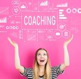 Coachning med den unga kvinnan arkivfoto