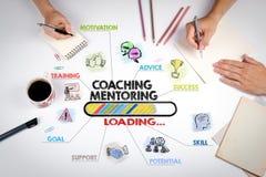 Coachning- och mentoringbegrepp Diagram med nyckelord och symboler royaltyfri bild
