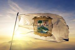 Free Coahuila State Of Mexico Flag Textile Cloth Fabric Waving On The Top Sunrise Mist Fog Royalty Free Stock Image - 127909436