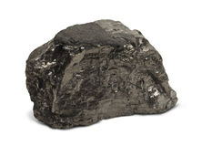 Coal. Single Piece of Black Coal Isolated on White Background stock photo