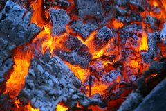 Coal. Fire place with glowing coal