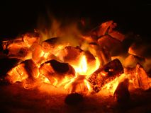 Coal. Charcoal fire Stock Photography