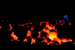 Coal anthracite. Burning coal in the furnace of a solid fuel boiler. stock images