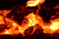 Coal ashes fire flame firewood Stock Photos
