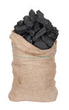 Coal in big sack Royalty Free Stock Image