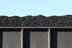 Coal in boxcar. Coal in train boxcar awaiting transport Stock Photos