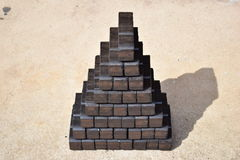 Coal briquette, coal briquette block, coal briquette blocks, pile of coal briquettes, piece coal briquettes blocks, black briquett Stock Images