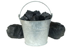 Coal in bucket Royalty Free Stock Images