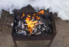 Coal burning in the brazier.  royalty free stock image