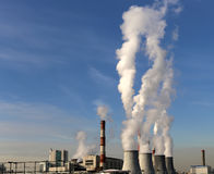 Coal burning power plant with smoke stacks, Moscow, Russia Royalty Free Stock Photos