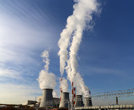 Coal burning power plant with smoke stacks, Moscow, Russia Stock Images