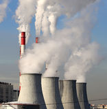 Coal burning power plant with smoke stacks, Moscow, Russia Stock Photos