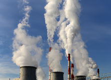 Coal burning power plant with smoke stacks, Moscow, Russia Royalty Free Stock Image