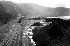 Coal Car. On railroad track - mounds of coal Stock Images