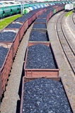 Coal cars. Rail cars loaded with coal Royalty Free Stock Image