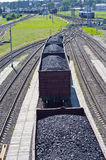 Coal cars. Rail cars loaded with coal Royalty Free Stock Photos