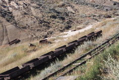 Coal Cars At The Atlas Coal Mine Drumheller Royalty Free Stock Photography