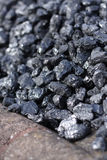 Coal - close up detail. Coal - a close up detail. In storage outdoors Royalty Free Stock Images