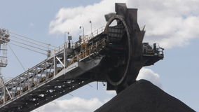 Coal conveyor belt/loader closeup stock video