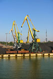 Coal cranes in harbour Stock Photo