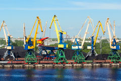 Coal cranes in port Royalty Free Stock Images