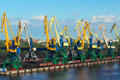Coal cranes in port Stock Photography