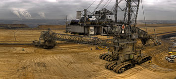Coal digger. A huge digger in a coal pit in Germany - Garzweiler Royalty Free Stock Image