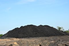 Coal dunes. Against blue sky Royalty Free Stock Photo