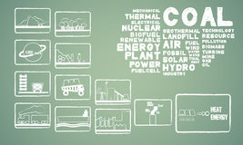 Coal energy. With 12 icon Royalty Free Stock Photos