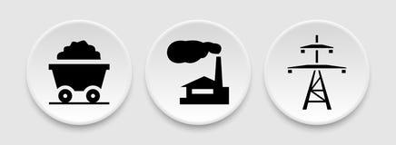 Coal energy icons Stock Photo