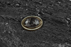 Coal and euro coin Stock Photos
