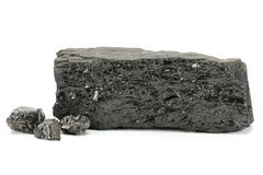 Coal. Extracted from German Ruhr district  mine isolated on white background Royalty Free Stock Images