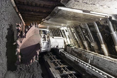 Coal extraction: Coal mine excavator. Longwall Mining: Shearer, with two rotating cutting drums and movable hydraulic powered roof supports called shields Royalty Free Stock Photo