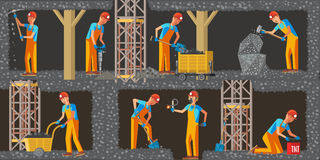 Coal Extraction Industry Horizontal Banners. With working miners different equipment and tools in flat style vector illustration stock illustration